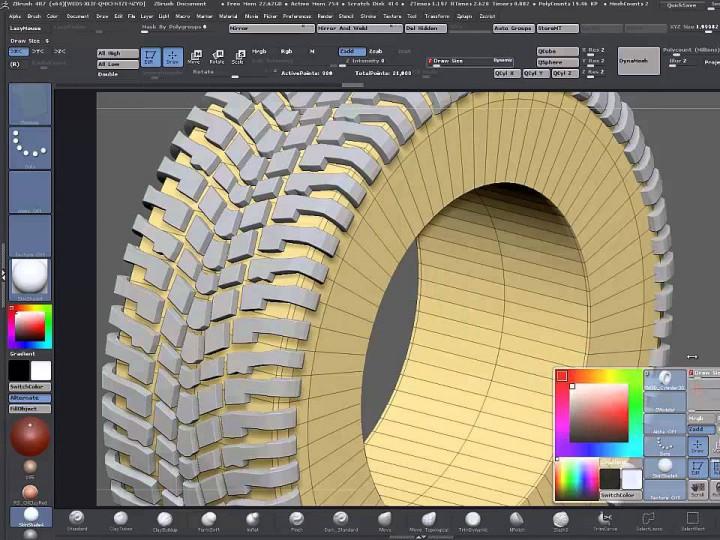 Modeling a tire tread in ZBrush – Part 2