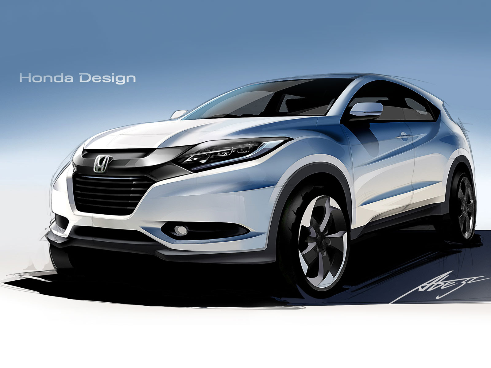 Honda HR-V - Design Sketch Render - Car Body Design