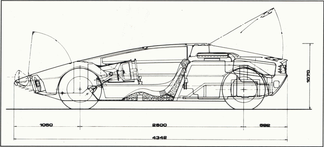 1972 Maserati Boomerang Dimensions Blueprint Drawing