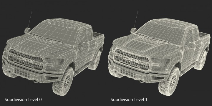 Ford F-150 Raptor 2017 - Mesh topology and subdivided wireframe