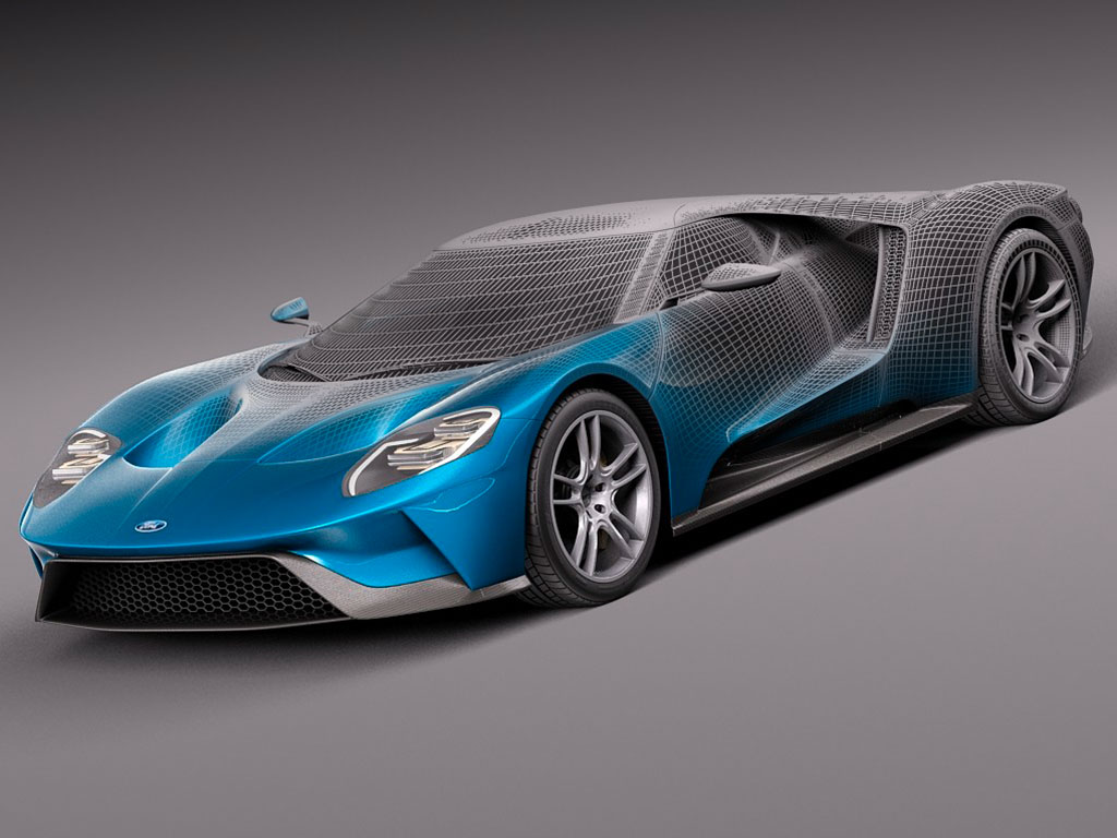 World Car Kia >> Ford GT Digital 3D Model - Wireframe and Rendering - Car ...