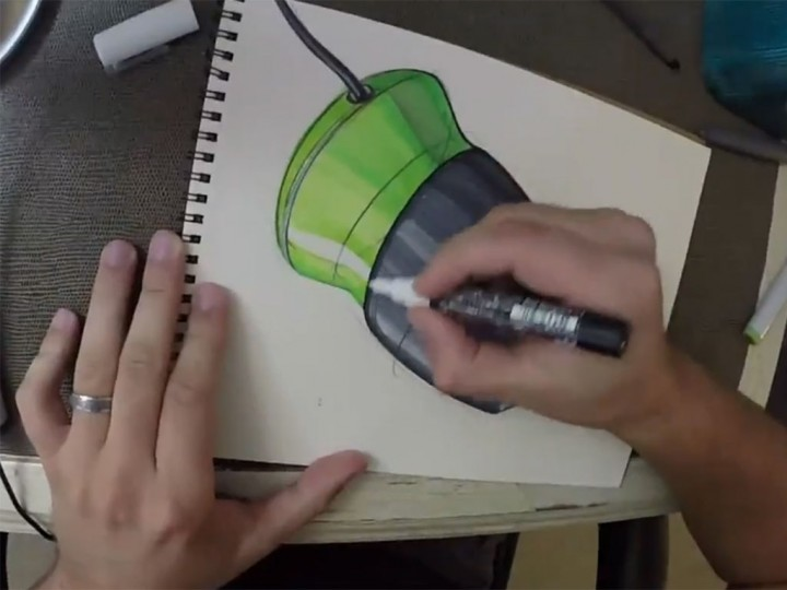 How to draw headphones – Copic markers industrial design sketching