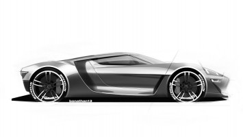 Ford GT Design Theme C Design Sketch Render by Colin Bonathan