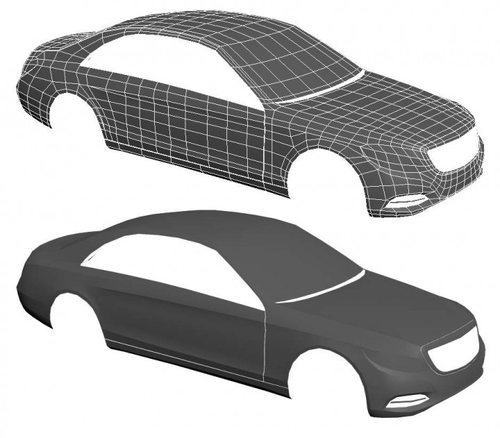 Car 3D model step 1 - base wireframe
