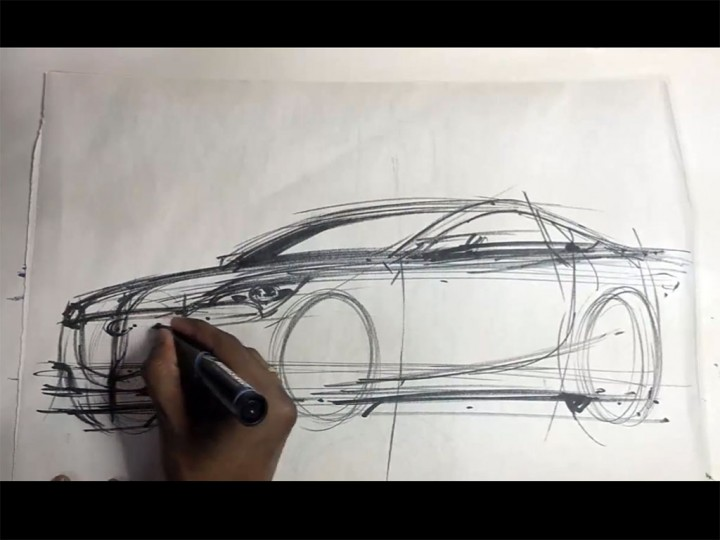 Sketching A Car In Front 3 4 View Car Body Design