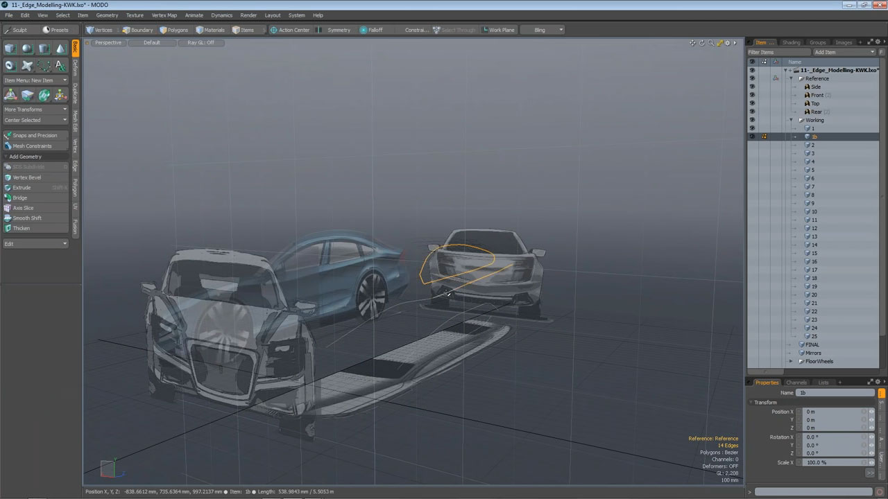 Concept Car 3D Polygon Model Blueprint Setup - MODO 901 screenshot
