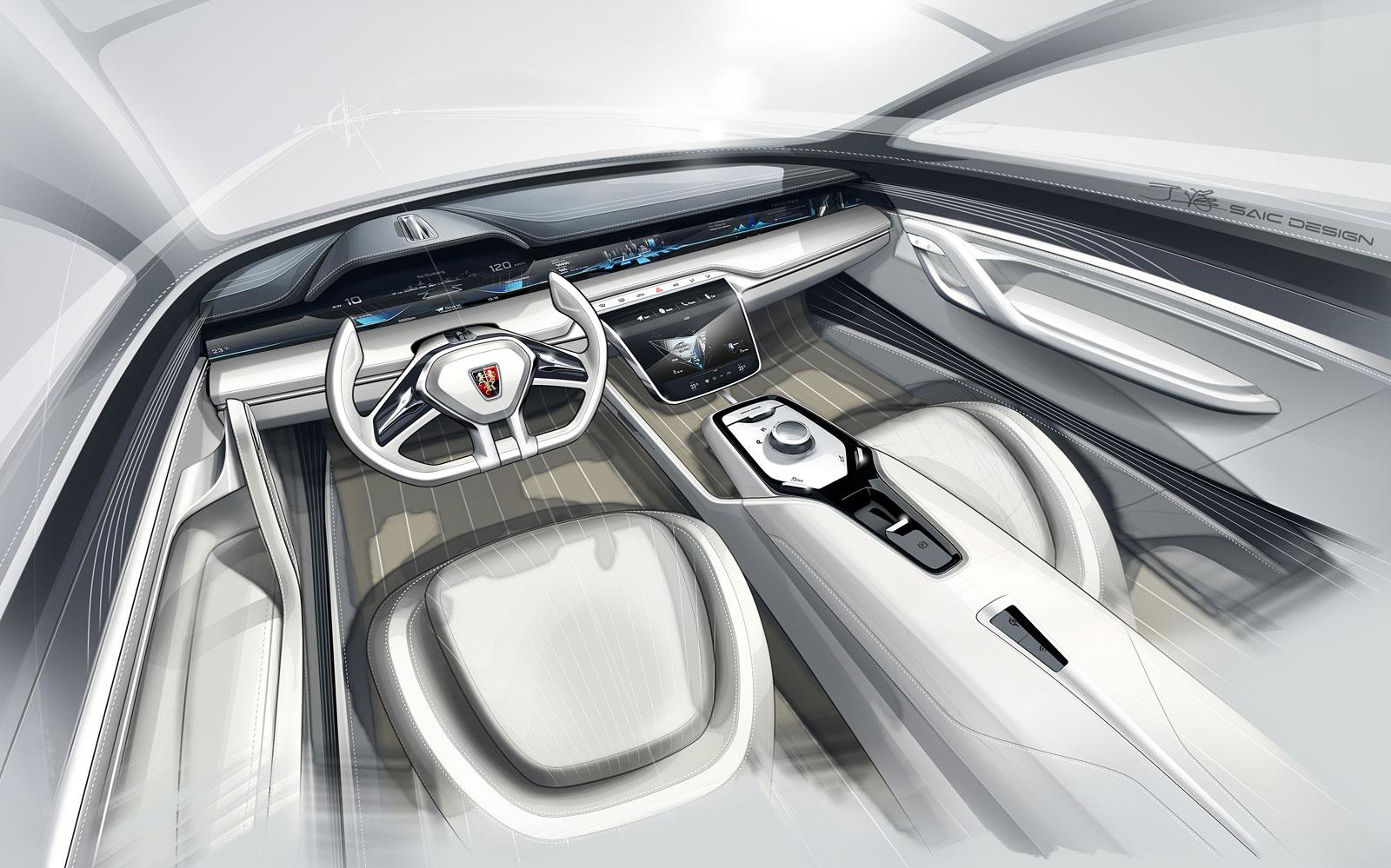 Roewe Vision R Concept Interior Design Sketch Car Body Design