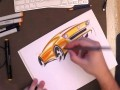 Car sketching with markers