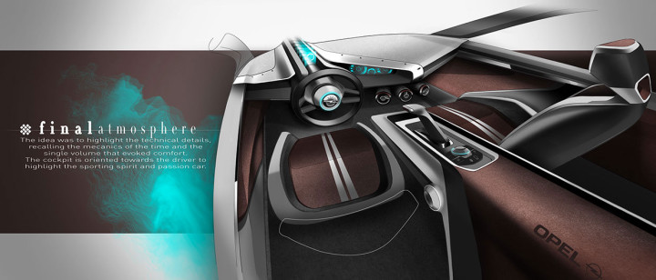 Opel Manta Concept - Interior Design Sketch Render