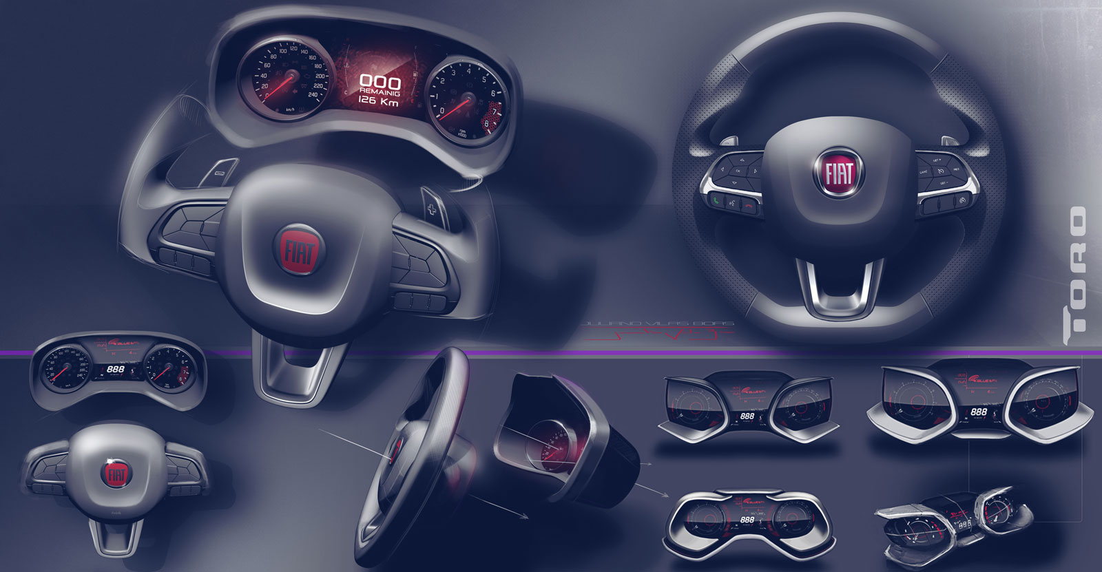 Fiat Toro Interior Design Sketch Render Steering Wheel