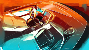 New Renault Scenic Interior Design Sketch Render by Maxime Pinol
