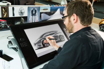 Renault designer Jeremie Sommer design sketching on the Cintiq