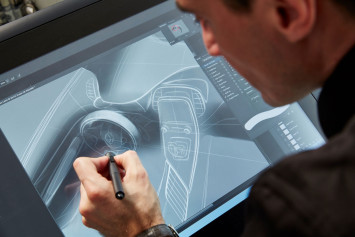 Renault designer Maxime Pinol design sketching on the Cintiq