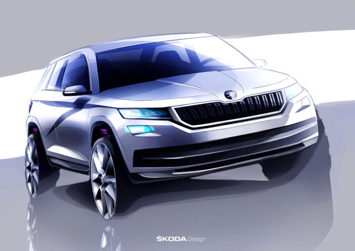 Skoda Kodiaq Design Sketch Render