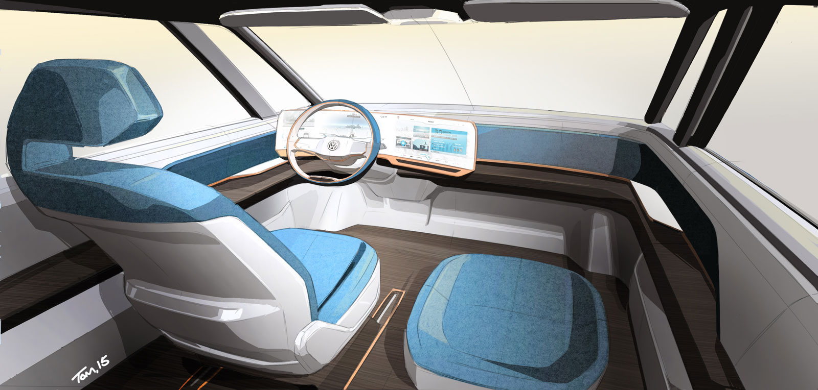 Volkswagen Budd E Concept Interior Design Sketch Render