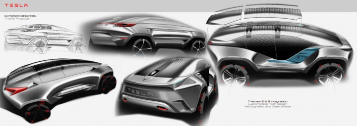 3 design sketches by car design academy students