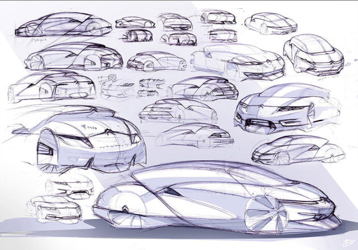 8 design sketches by car design academy students