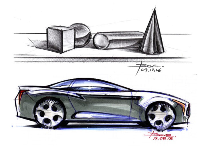 Basic shapes and reflections on car sketches