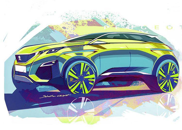 Peugeot 3008 Design Sketch - Car Body Design