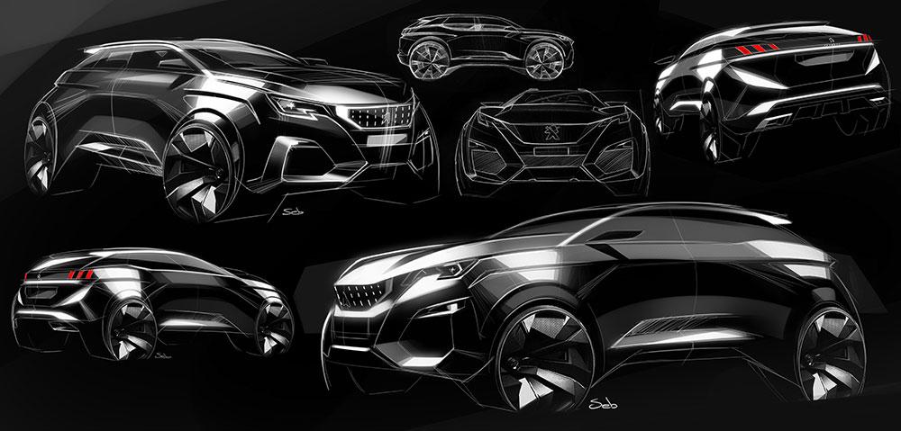 peugeot 3008 design sketches by sebastien criquet