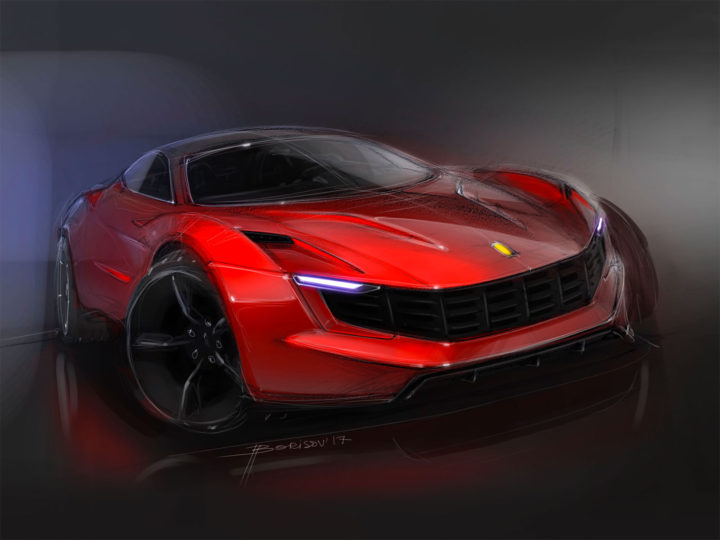 Ferrari Photoshop quick car render video