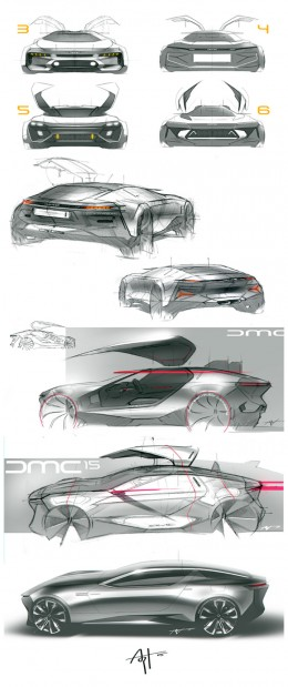 DeLorean Concept Design Sketches by Arthur Martins