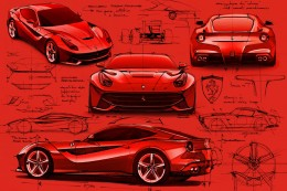 Ferrari F12 Berlinetta Design Sketches by Flavio Manzoni
