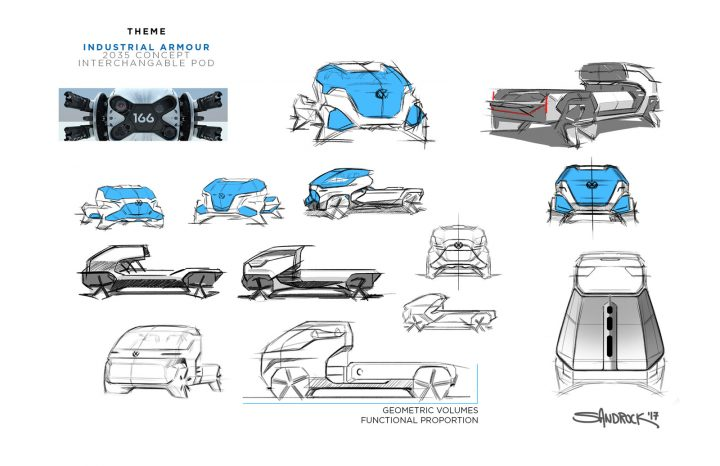 Volkswagen Type 10 PickUp Concept Design Sketches