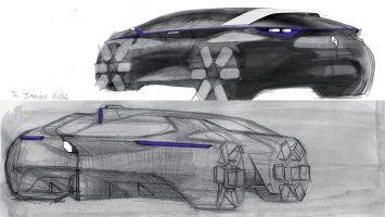 Renault Symbioz Concept Design Sketches by Stephane Janin
