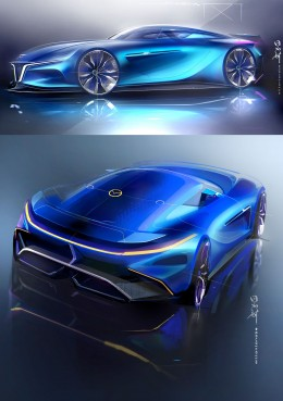 Mazda RX7 Concept Design Sketch Render by Milton Tanabe