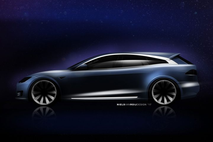 Tesla Model S Shooting Brake by Niels van Roij Design Sketch Render