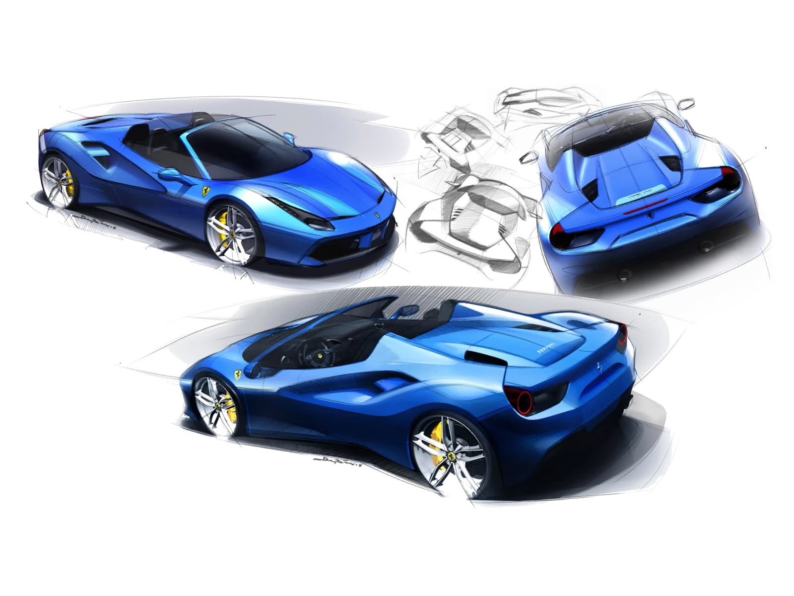 ferrari 488 spider design sketch renders car body design