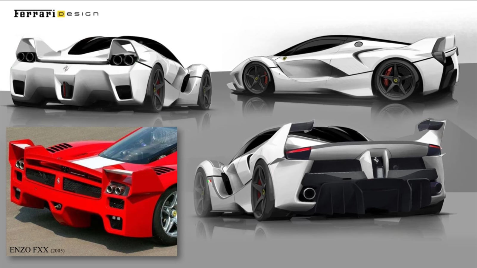 Ferrari Fxx K Design Sketch Renders And Enzo Rear End Comparison Car Body Design