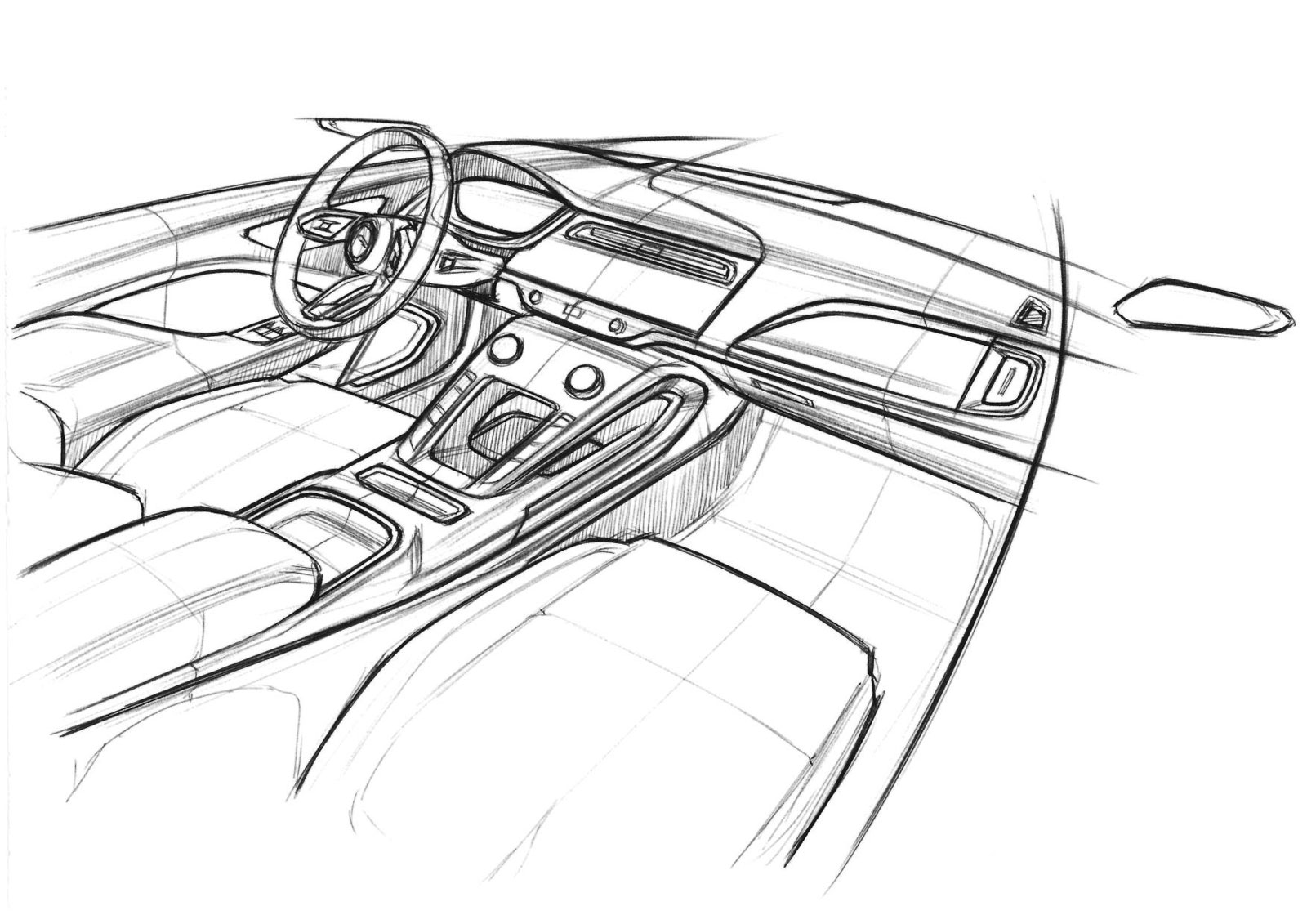 Jaguar I Pace Interior Design Sketch Car Body Design
