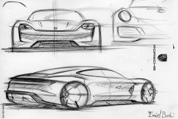 Porsche Mission E Concept Design Sketch by Emiel Burki