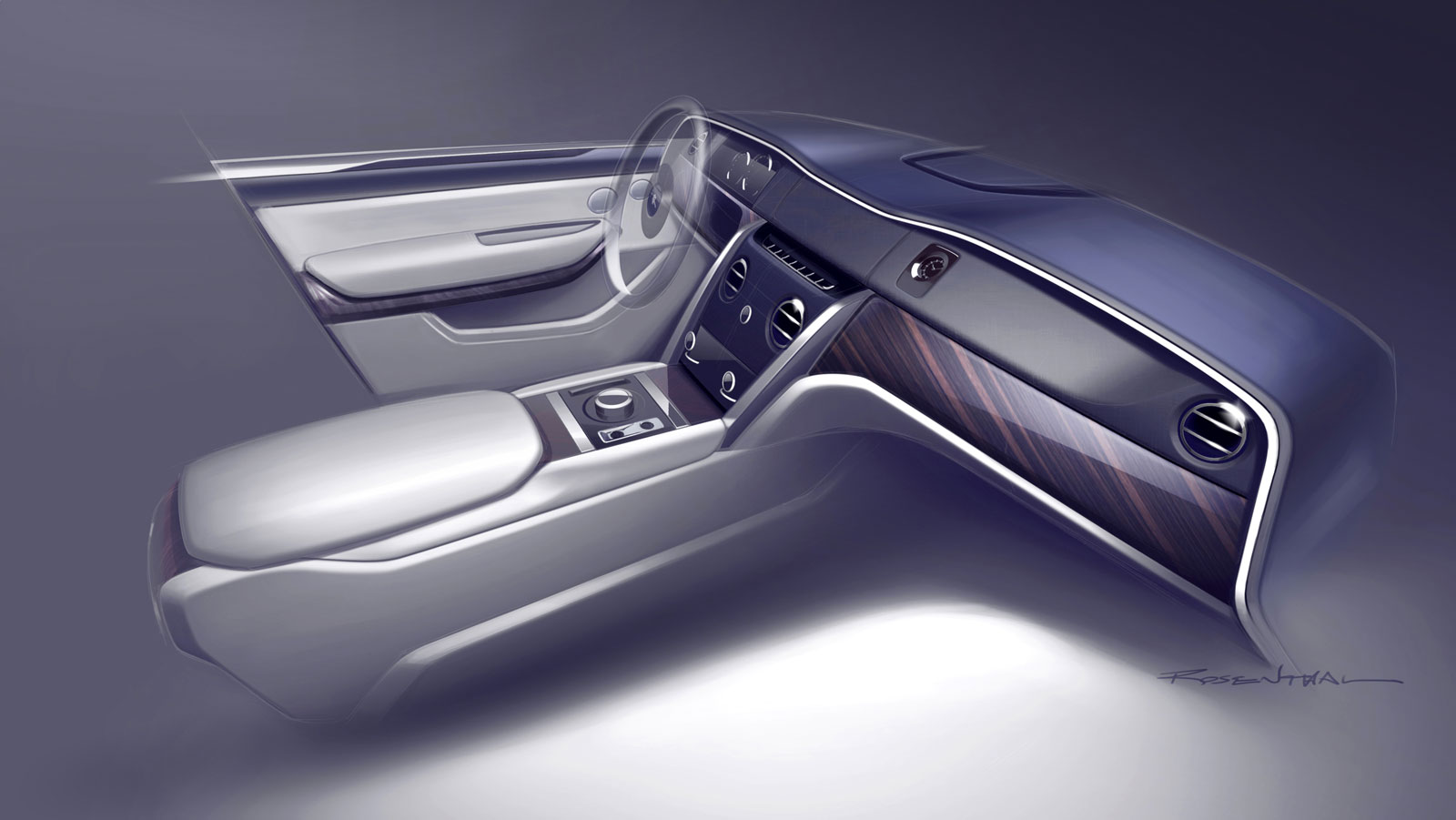 Rolls Royce Cullinan Interior Design Sketch Render Car