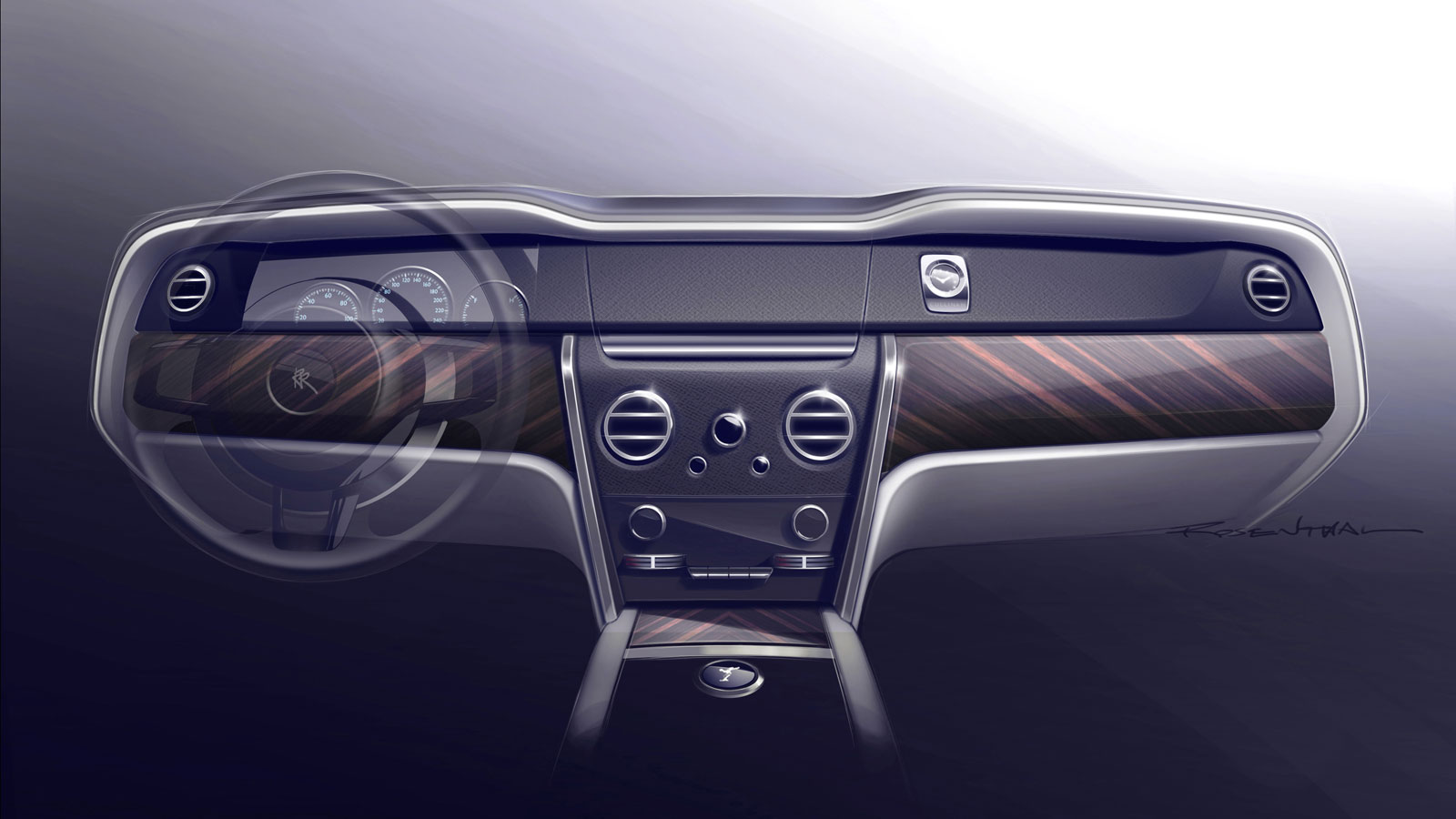 rolls-royce cullinan interior design sketch render