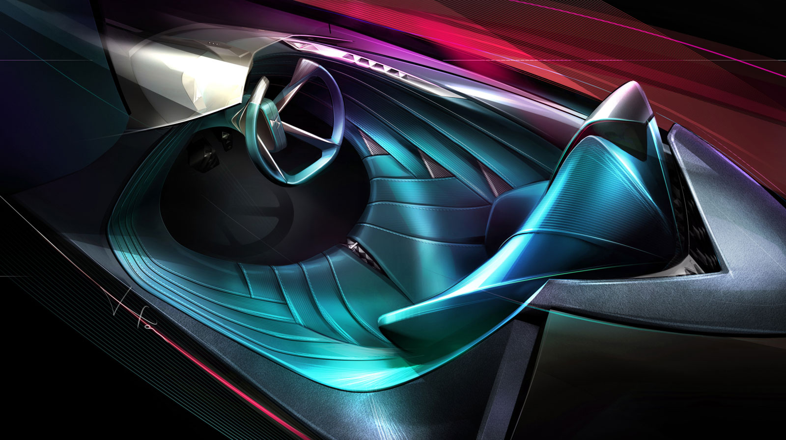 Ds X E Tense Concept Interior Design Sketch Render Car