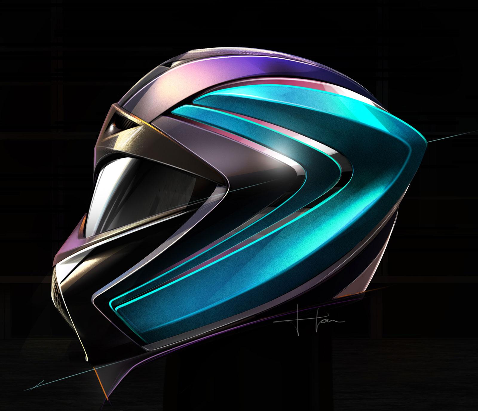 DS X E Tense Concept Parametric Helmet Design Sketch