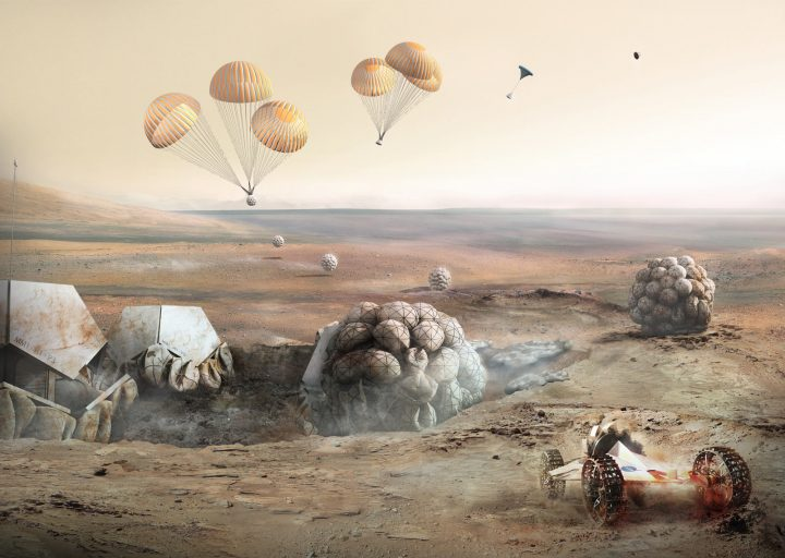Foster Partners Mars Pod Step 2 Entry descent and landing of habitat units. Airbags are used for soft