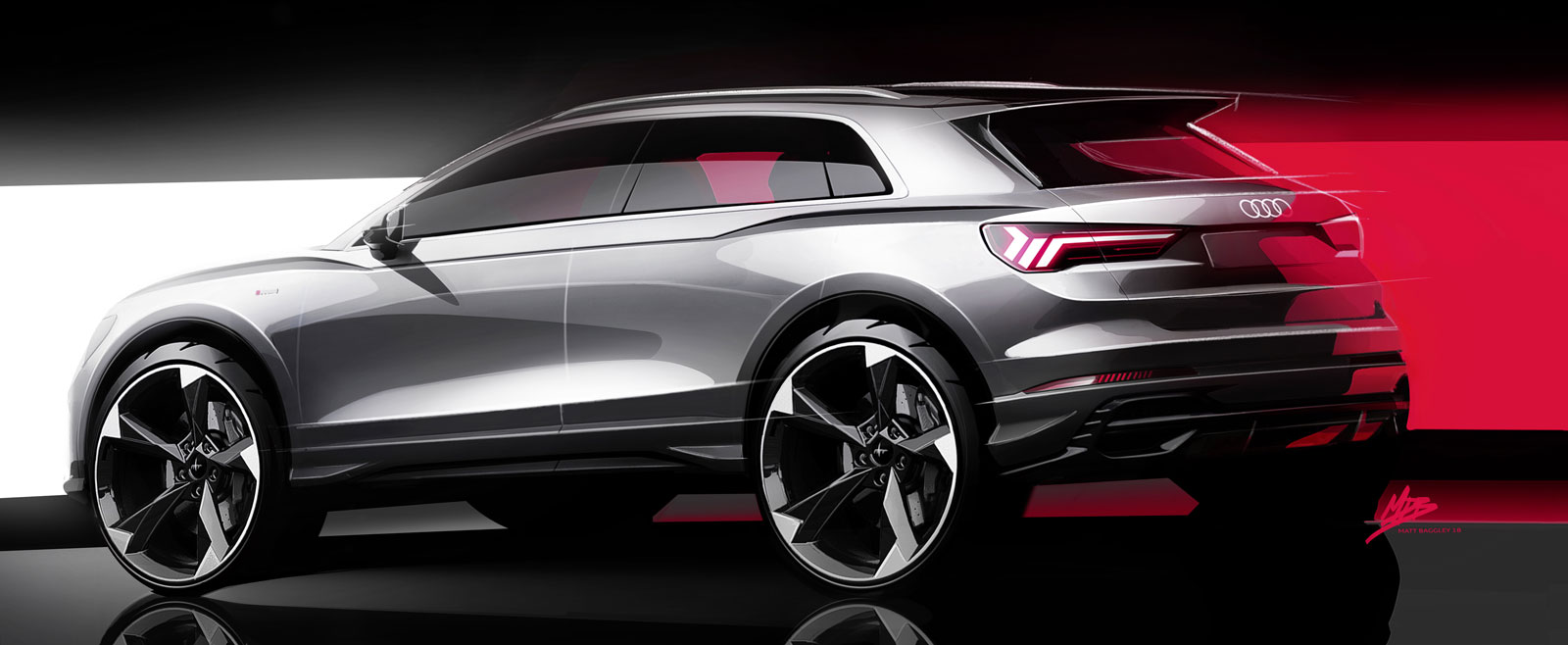 Audi Q3 Design Sketch Render