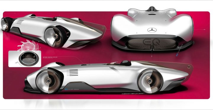 Mercedes-Benz Vision EQ Silver Arrow Concept Design Sketch Render