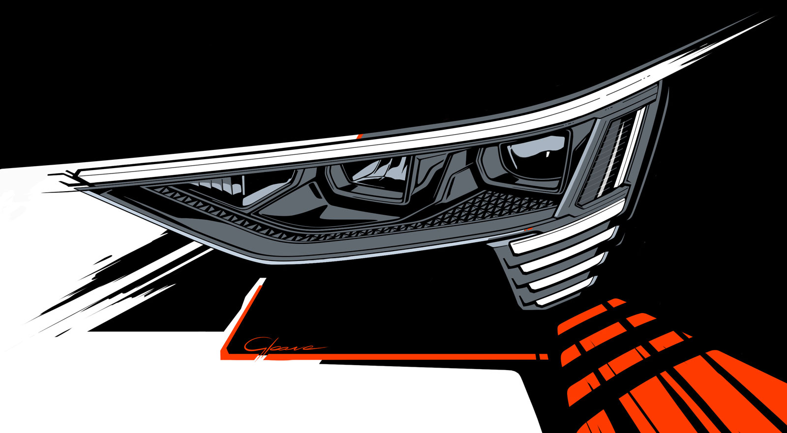 Audi e tron Headlight Design Sketch Render