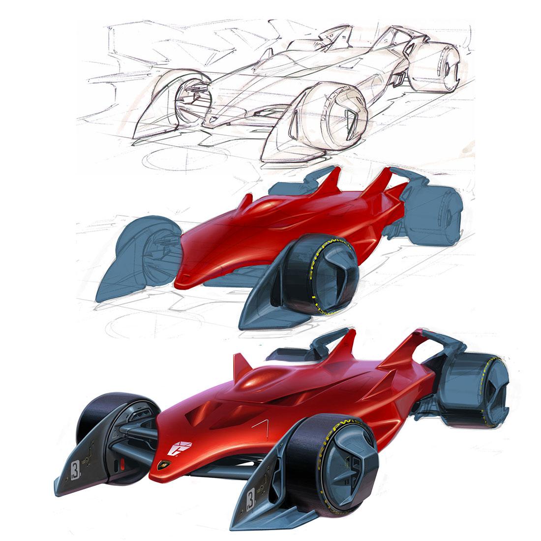Formula 1 Concept Design Sketch Tutorial by John Frye - Car
