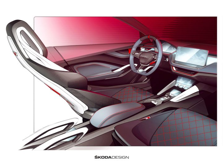 Škoda Vision RS Concept: interior design sketches and video