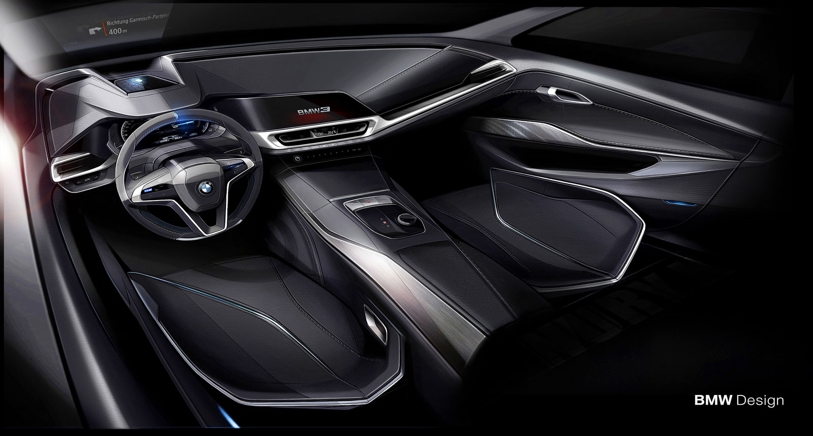 New BMW 3 Series Sedan Interior Design Sketch Render