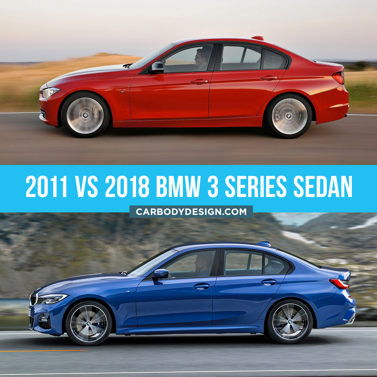 2011 vs 2018 BMW 3 Series Sedan design Comparison Side View
