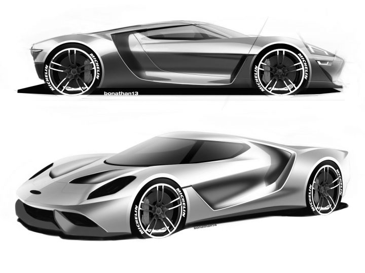 2016 Ford GT Design Sketch Renders by Colin Bonathan