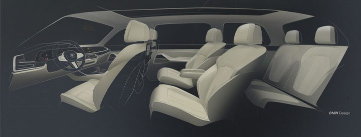 BMW X7 Interior Design Sketch Render