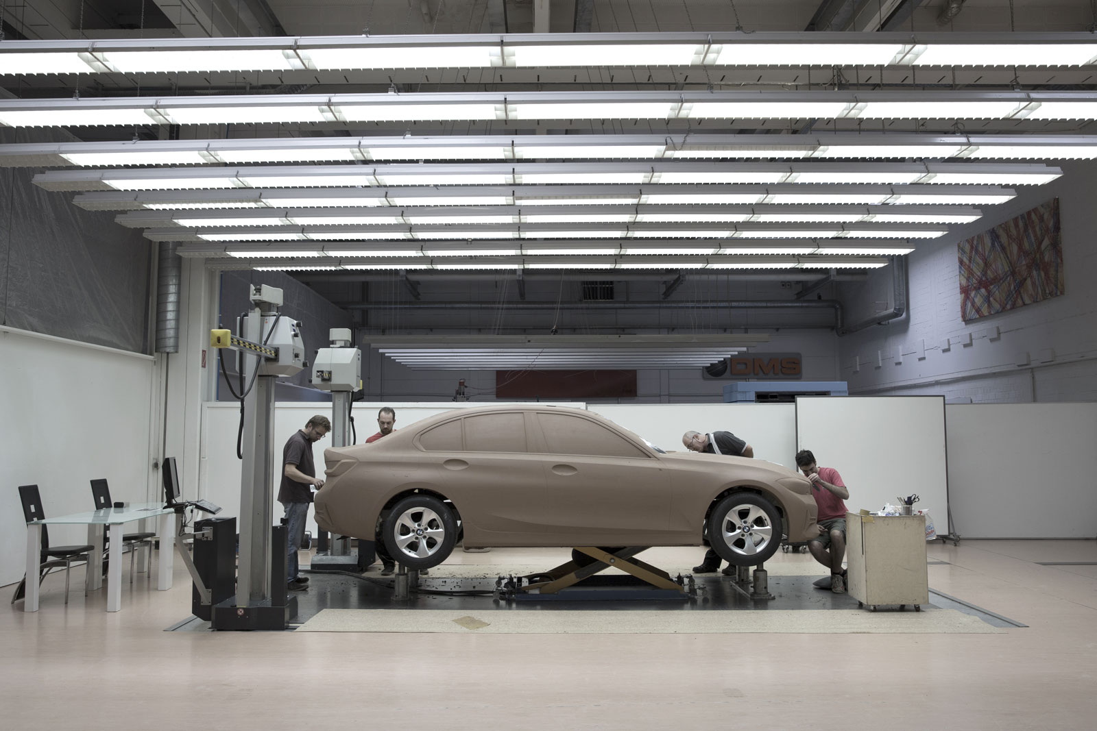 New BMW 3 Series Sedan Design Process Clay Model in the milling machine
